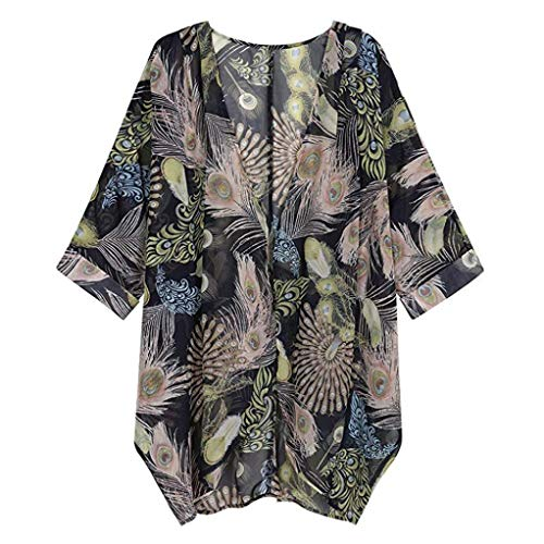 GOVOW Womens Casual Floral Print Long Sleeve Chiffon Cardigan Soft Loose Kimono Blouse Tops Black -