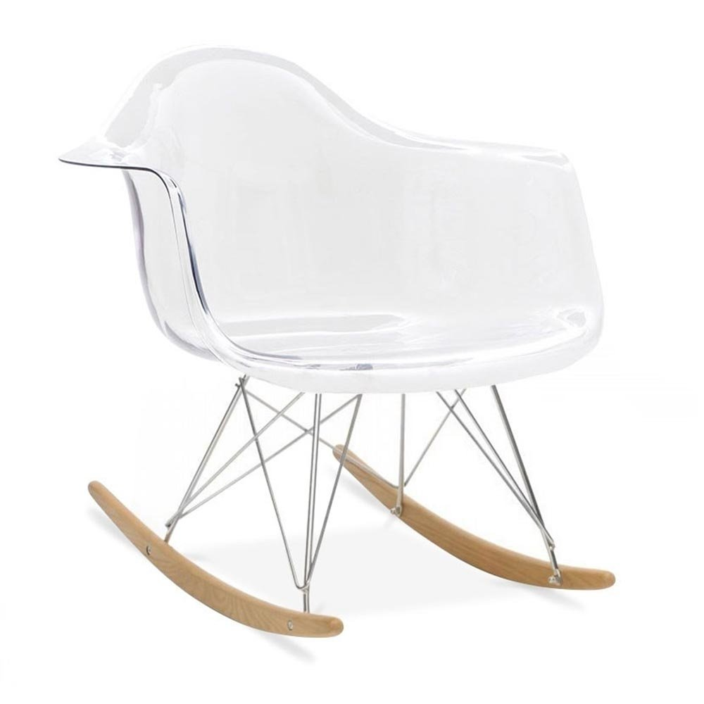 HomeCraft Eames Style Molded Modern Plastic Armchair-Rocking Mid Century Style Lounge Cradle Arm Chair-Contemporary Accent Retro Rocker Chrome Steel Eiffel Base-Ash Wood Rockers-Nursery Living Room-Matte Finish in Acrylic HCD