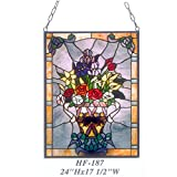 HF-187 Vintage Tiffany Style Stained Church Art Glass Decorative Blooming Flowers Window Hanging Glass Panel Suncatcher, 24''x17.5''