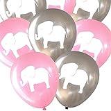 Elephant balloons (16 pcs) by Nerdy Words (Grey & Pink)