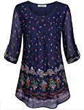 SeSe Code Floral Blouse Women Fashion Tops Chiffon Nice Patterned Daily Wear Flowing Curved Hem Tiered Loose Fit Tunic with 3/4 Sleeves Navy Blue Medium