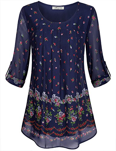 - SeSe Code Long Sleeve Tops for Women Ladies Fashion Blouses Chiffon Comfort Layer Figure Flattering Floral Printed Blouson Top Tunic Aline Shirts Navy Blue XLarge