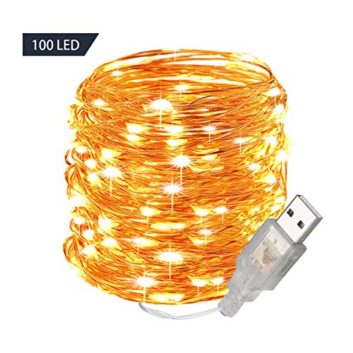 GardenDecor 100 Led 33 ft. Starry Led String Light, Waterproof Copper Wire Fairy Lights for Indoor, Bedroom Festival Christmas Wedding Party Patio Window with USB Interface (33ft./10M,Warm White)