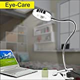 6W LED Clamp Light Eye Care Bedside Lamp Flexible Gooseneck Table Light with Clamp Colour Changeable Desk Lamp USB Power Portable Reading Lamp for Office Bedroom Living Room Desktop(Silver)
