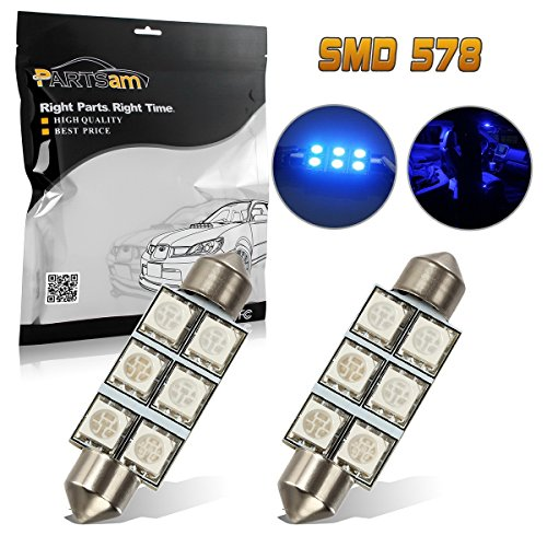 2011 Earrings - Partsam Blue 6-SMD LED Bulbs 42mm Interior Dome Light 578 211-2