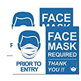 """""""FACE MASK Required"""" Sign Removable Sign for Asking Customers to Wear Face Mask Business Door Sign (Horizontal Sign)"""
