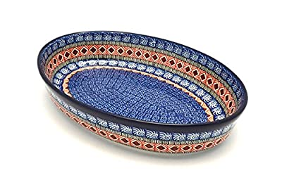 Polish Pottery Baker - Oval - Large - Aztec Sun