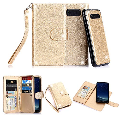 TabPow Galaxy S8 Plus Case, 10 Card Slot - [ID Slot] Wallet Folio PU Leather Case Cover with Detachable Magnetic Hard Case for Samsung Galaxy S8 Plus (SM-G9550) - Glitter Gold