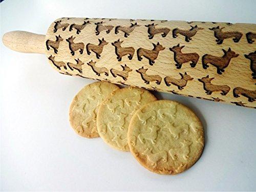 CORGI DOG Embossing Rolling pin. Engraved rolling pin for embossed cookies. Welsh Corgi Dog. Cardigan, Pembroke Welsh (Welsh Corgi Pin)