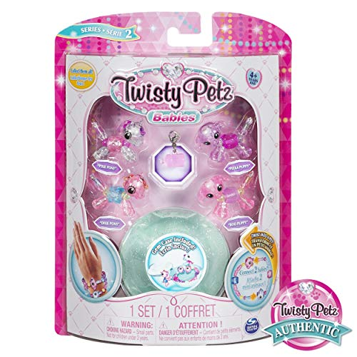 - Twisty Petz, Series 2 Babies 4-Pack, Ponies and Puppies Collectible Bracelet and Case (Teal) for Kids