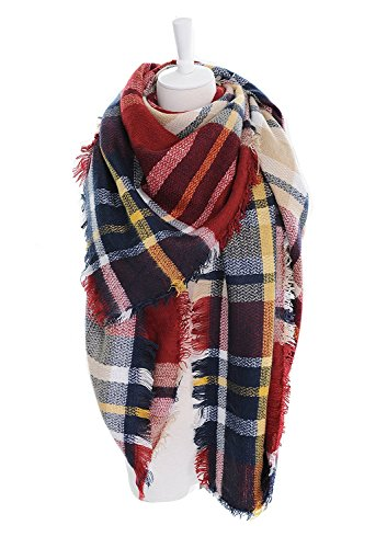 Large Tartan Fashion Women Scarf Lovely Best Gift Scarf Wrap Shawl Red (Plaid Ladies Fashion Scarves)