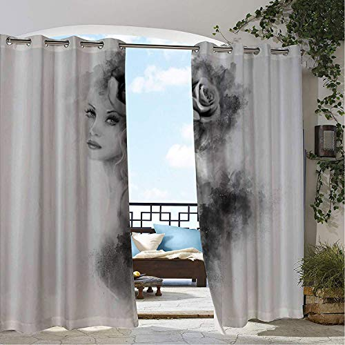 Linhomedecor Patio Waterproof Curtain Face Abstract Portrait Design Flower and Smoky Pattern Greyscale Illustration Grey and Pale Grey Porch Grommets Adjustable Curtains 84 by 72 inch