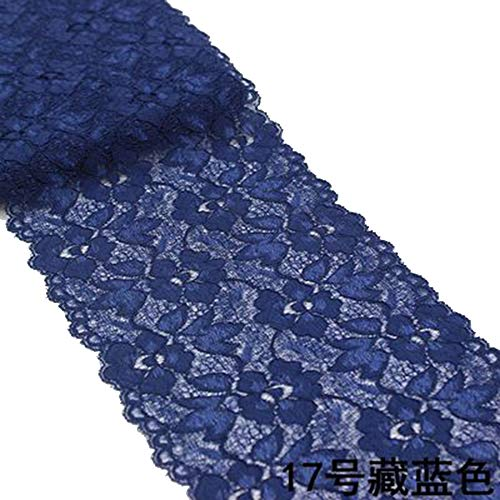 6.2 Inch Stretch Lace Trims Floral Embroidered Elastic Fabric for Garment and DIY Craft Supply by 5 Yards (Navy Blue)