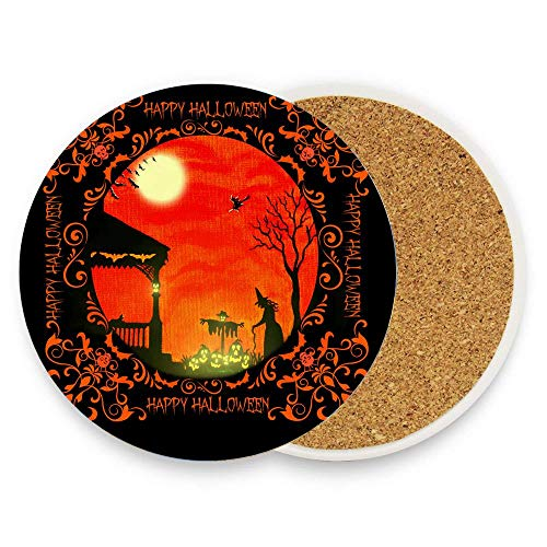 GTdgstdsc Halloween witches(1) Coaster for Drinks,Wallpaper Ceramic Round Cork Table Cup Mat Coaster Pack Of 1]()