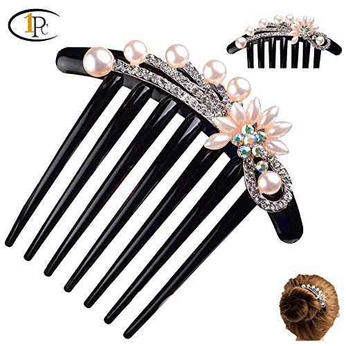 FINGER LOVE French twist 7 Teeth Arcylic Hair Comb Ornamented along the top of the heading with pearl crystal Rhinestone Floral Vantage Handmade French Twist Comb (Flower)
