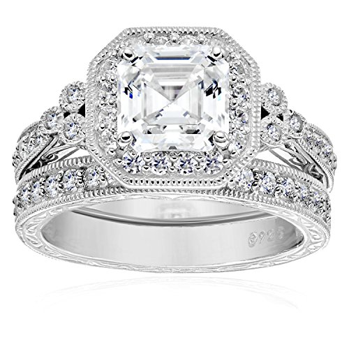 Platinum-Plated Sterling Silver Swarovski Zirconia Asscher Cut Antique Ring Set, Size 6