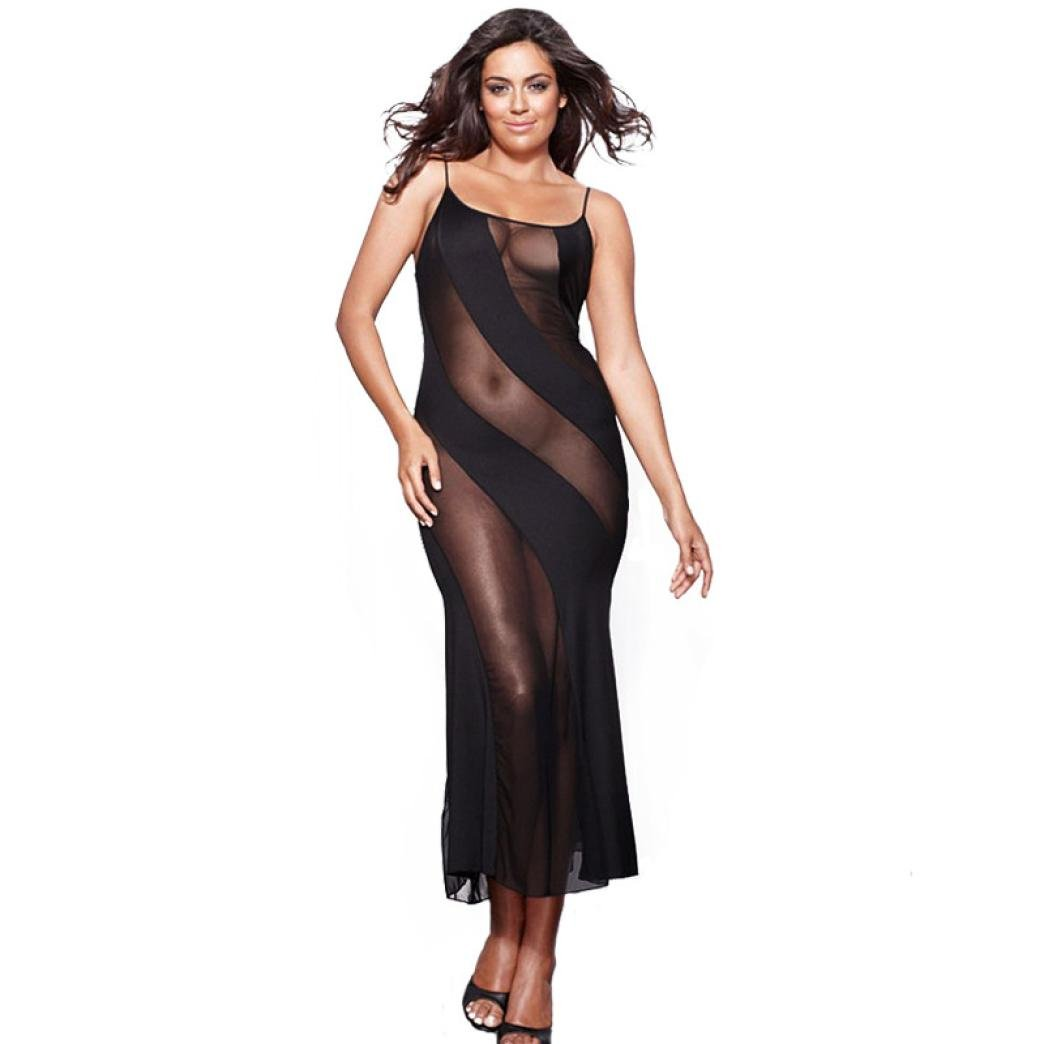 Bookear_Nightdress Womens Plus Size Sheer Mesh Lingerie Nightwear Black Babydoll Long Gown With Thong