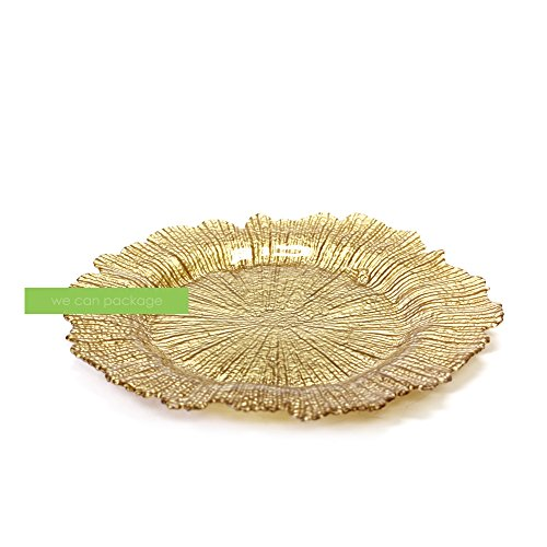 Flora Champagne - Flora Glass Charger Plates Flower Reef - Sold in Cases of 12 - We Can Package (champagne gold)