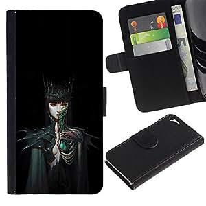 Be Good Phone Accessory // Caso del tirón Billetera de Cuero Titular de la tarjeta Carcasa Funda de Protección para Apple Iphone 5 / 5S // Woman Black Dark Fairytale