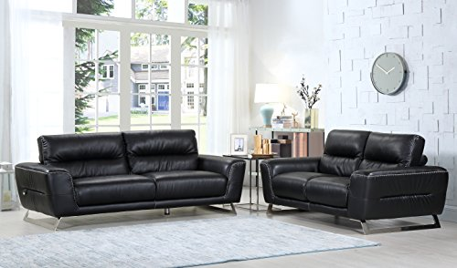 Blackjack Furniture The Claxton Collection 2-Piece Genuine Italian Leather Living Room Sofa Set, Black ()
