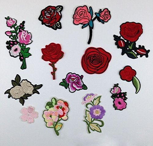 Yulakes 13 Pcs Peony Rose Flowers Patch Sticker / Patches Stickers / Cute DIY Clothing Patches Stickers for T-Shirt Jeans Clothes Bags (Bride Peony Dress Style)