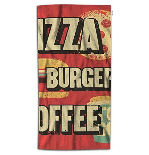 Moslion Fast Food Bath Towel Vintage Pizza Burgers Coffee Cafe Drink Towel Soft Microfiber Baby Hand Beach Towel for Kids Bathroom 32x64 Inch Red Yellow