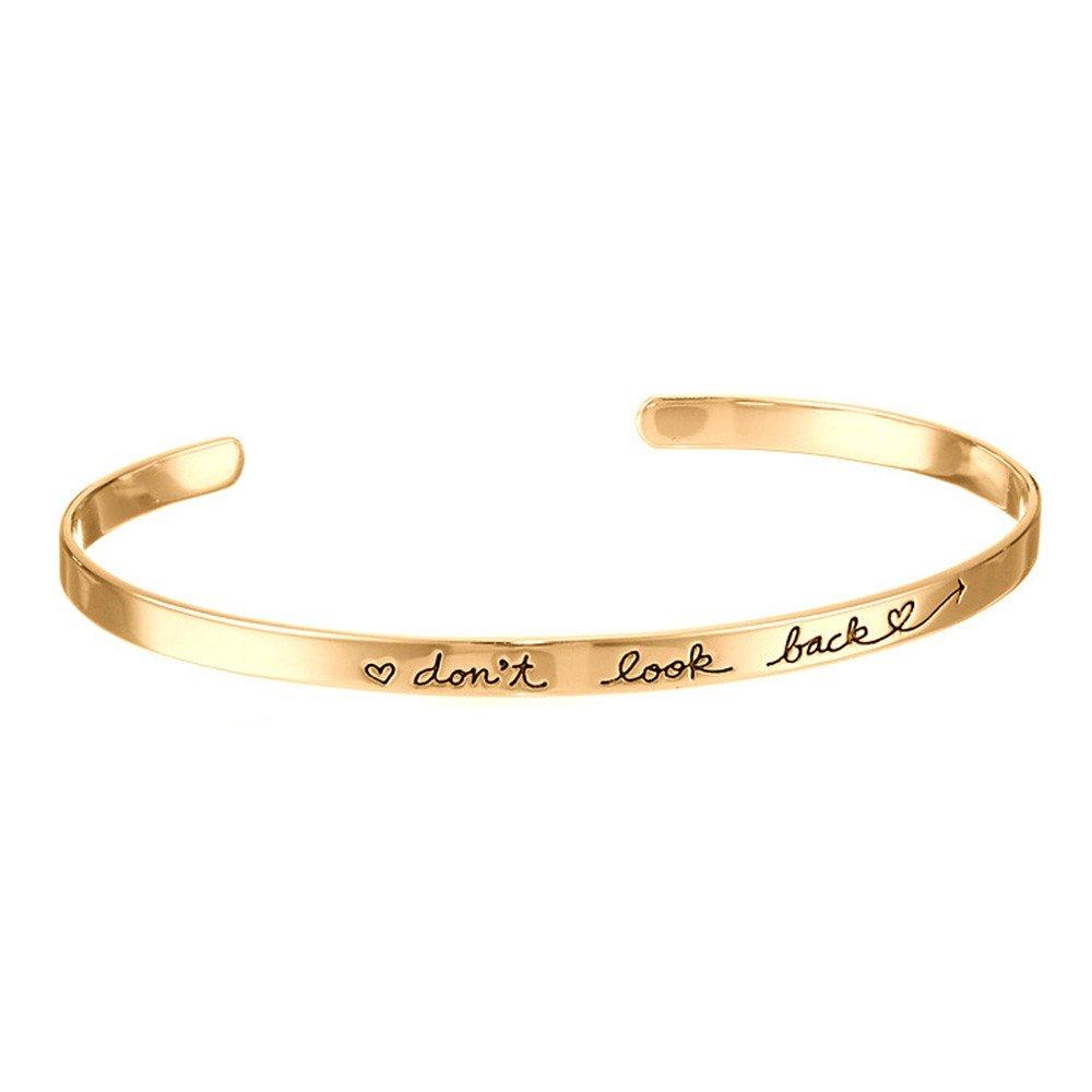 Cewtolkar Valentine's Day Bangle Women Jewelry Party Chain Open Bracelet Girlfriend Chain Birthday Bangle (Gold)