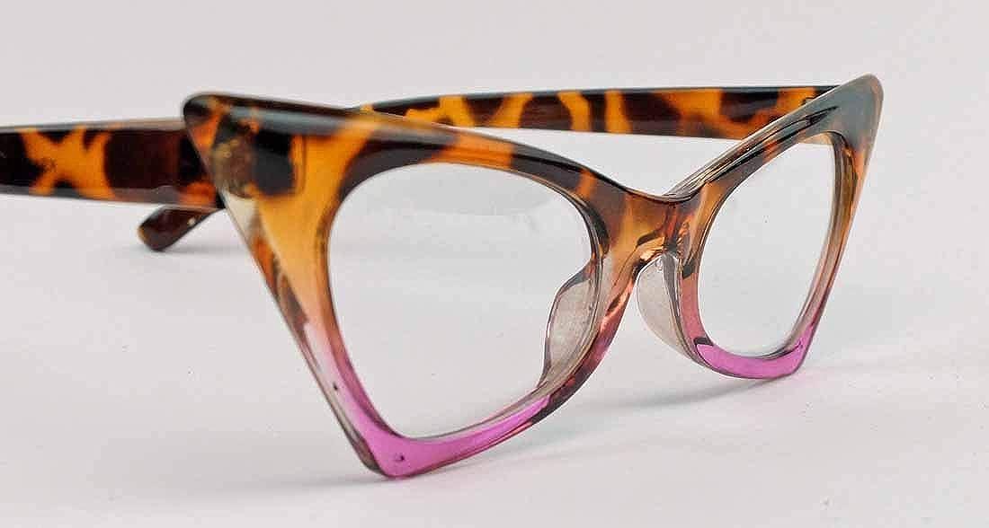 50er Jahre Fashion Brille Cat Eye Modell Klarglas ohne St/ärke Vintage Nerdbrille mit Farbverlauf CN13