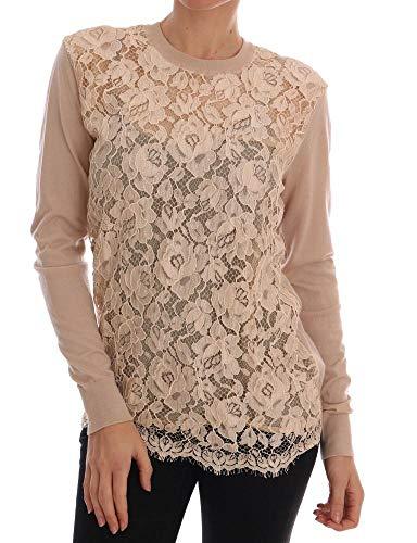 (Dolce & Gabbana Beige Cashmere Lace Pullover)