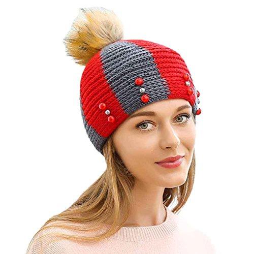 GBSELL Fashion Women Girl Jewelry Winter Keep Warm Hemp Flowers Knitted Hat Sport Cap (Red) ()