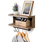 MyGift 2-Tier Rustic Wall Mounted Wood Floating Shelf with Hanging Towel Bar and S-Hooks Review