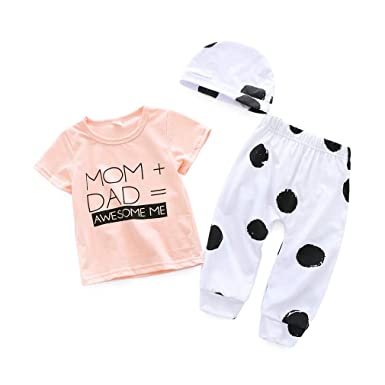 7604ea0f0da9f Amazon.com  3Pcs Set Infant Toddler Baby Girl Mom Dad T-Shirt Tops+Polka Dot  Pants+Hat Summer Clothes  Clothing