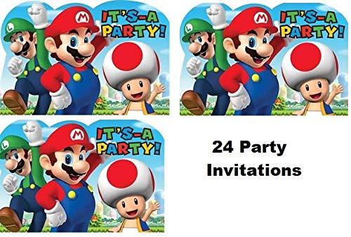 Hallm Super Mario Brothers Decoration Party Birthday Invitations Invite Supplies 24Pieces ()