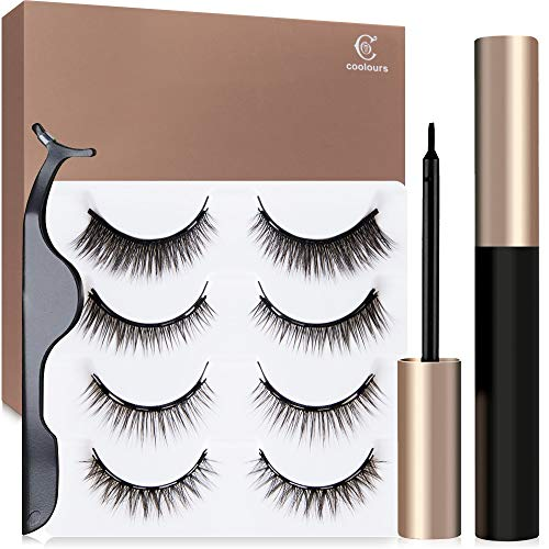 Coolours Magnetic Eyeliner With Magnetic Eyelashes, Magnetic Eyelashes Kit False Lashes 4 Style with Tweezers
