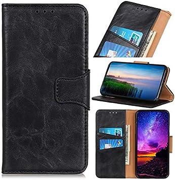 Cajas del teléfono móvil Compatible con Nokia 7.2 Caso, en folio del caso del soporte, caballo loco textura PU billetera de cuero del caso con el encierro magnético ( Color : Black )