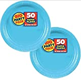 Amscan Big Party Pack 100 Count Paper Dessert Plates, 7-Inch, Caribbean