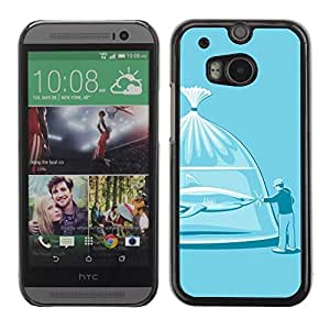 Colorful Printed Hard Protective Back Case Cover Shell Skin for All New HTC One (M8) ( Funny Shark Illustration )