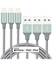 iPhone Charger Cable MFi Certified Lightning Cord 3Pack 6ft USB Fast Charging Syncing Cable Nylon Braided iPhone 12 SE 11 Pro MAX Xs XS MAX XR X 8 7 6 5 Plus S E iPod iPad (2020) AirPods Pro Grey