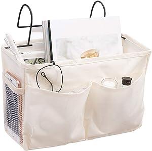 YOUMI Bedside Hanging Storage, Caddy Shelf Baskets,Dormitory Supplies Bunk Bed Organizer Basket Pocket Bag with Metal Hooks Shelves Holder for Dorm Room,Hospital Bed Rails,Baby Bed (White 01)