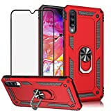 BestShare for Samsung Galaxy A50 Case & Tempered Glass Screen Protector, Rugged Hybrid Armor Anti-Scratch Shockproof Kickstand Cover Compatible Magnetic Car Mount Ring Grip, Red