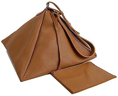 QZUnique Women's PU Leather Clutch Wallet Triangle Wristlet Purse With Wrist Strap