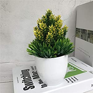 YURASIKU Artificial Flower Potted Desktop Fake Plants Bonsai with Plastic Vase Simulation Flower for Wedding Christmas Home Decoration 77