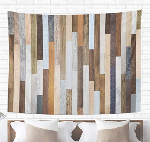 (Topyee Home Decorative Tapestry Wall Hanging Pallet Wood Colorful Planks Rustic Abstract Aged Beautiful Beech 60