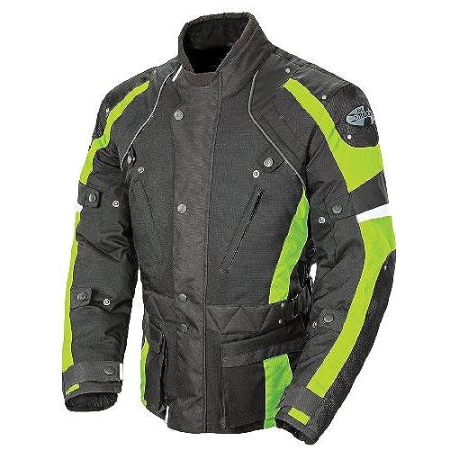 Joe Rocket Ballistic Revolution Mens Textile Motorcycle Riding Jacket (Black/Hi-Viz Neon, Medium)