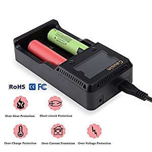 Universal Battery Charger with Car adapter ,2 Bay Quick LCD Automatic Battery Charger for Rechargeable Lithium liion NIMH NICD 18650 AA AAA 18500 26650 20650 RCR123 14500 10440 Batteries