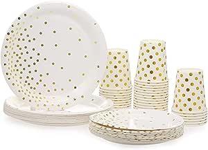 30 كوب ورقي سعة 9 اونصة + 30 طبق مقاس 7 انش + 30 طبق 9 انش، مجموعة من 90 قطعة من اواني الشرب والاطباق منقطة باللون الذهبي للاستعمال مرة واحدة، اطباق دائرية، اكواب الشرب، اطباق العشاء اطباق الحلوى