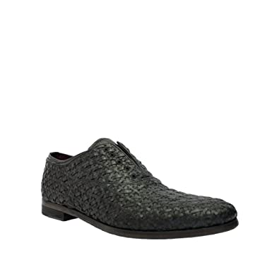 Mens Woven Leather Laceless Lace Up