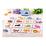 32pcs Baby Infant Flash Card Jigsaw cognition puzzle Shape Matching Puzzle Cognitive Learning Early Education Card Learning Toys in a Box - Animals