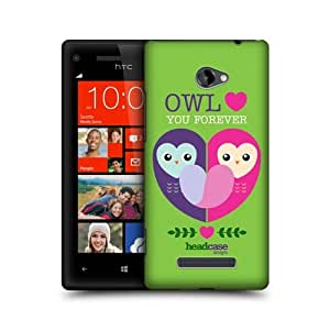 Hard Plastic Snap on Cover Fits HTC Windows 8X, 6990LVW, Windows Phone 8X Owl Love Forever LoveY Dovey Mishmash AT&T, T-Mobile, Verizon