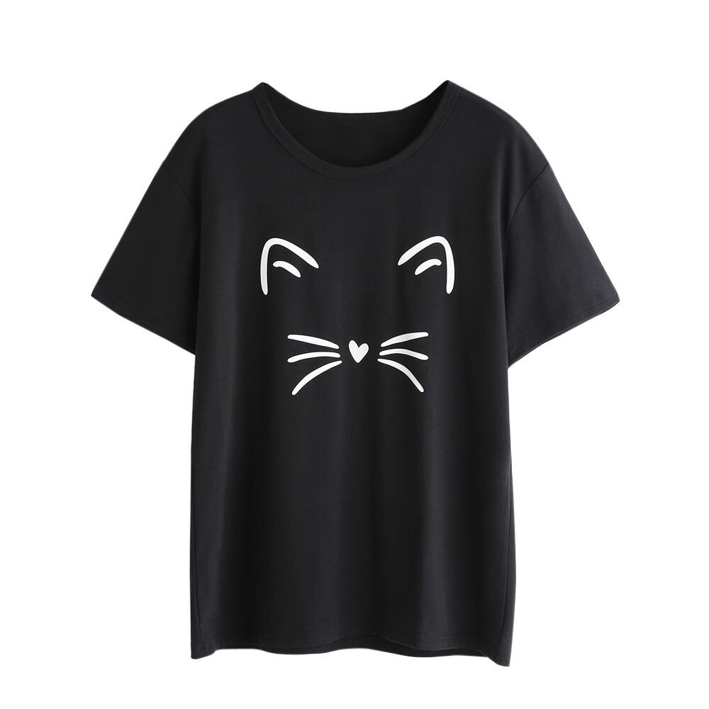 Clearance Women Fashion Short Sleeve O-Neck Cat Printed Casual Blouses Shirts Tops Teen Girls Tunic Jumpers for Summer (S, Black)